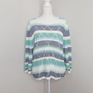 Alfred Dunner Knitted Striped White Sweater
